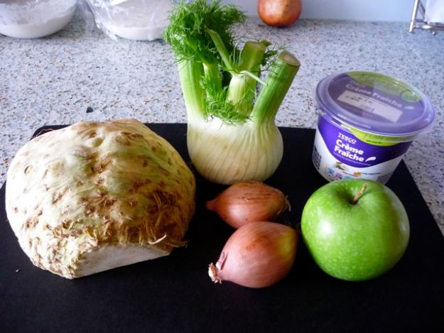 fennel celeriac soup steps on the journey