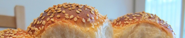 Crusty sesame topped buttermilk rolls