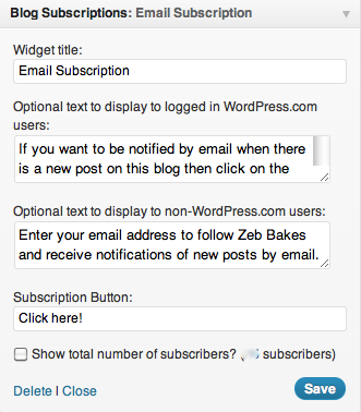 Blog Sub Widget WordPress Com