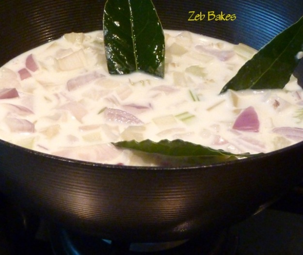 Celery and Onion Infused in Milk with Bay Leaves