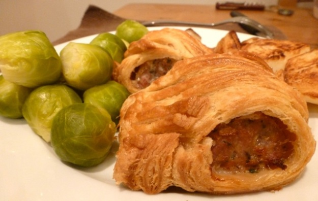 chilli pastry sausage rolls and brussel sprouts