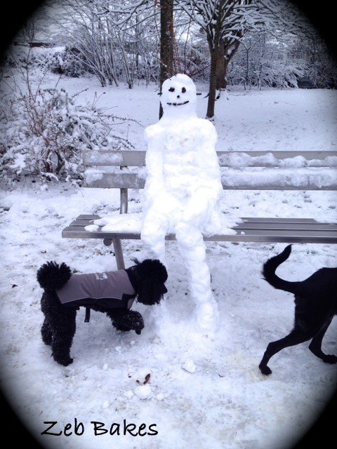 Zeb inspects snowman in Quarry Park
