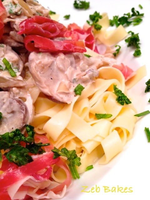 I served the tagliatelle with chestnut mushrooms, onion, parsley, and a sauce of Charvroux goats cheese and some Serrano ham