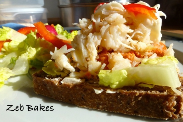 Crabmeat on Rye Bread