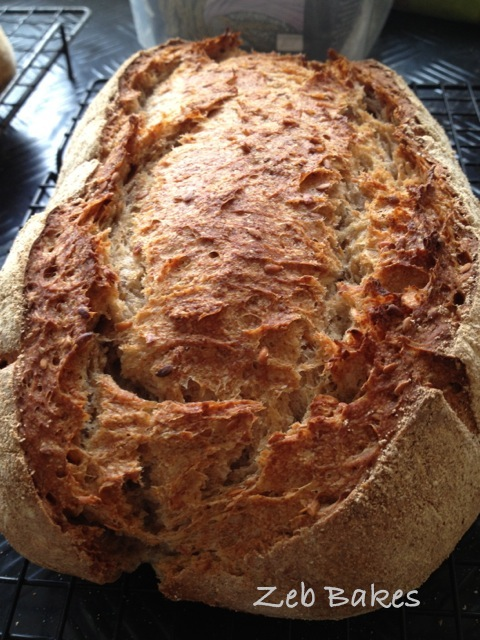 Rye and Flaxseed Sourdough Bread copyright Zeb Bakes