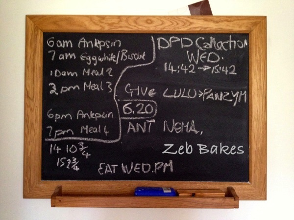 Blackboard in Zeb Bakes Kitchen