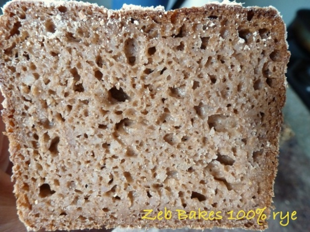 100% rye bread Zeb Bakes