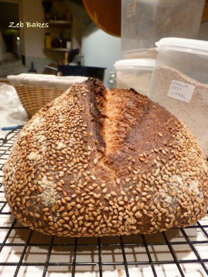 Sesame Crust Date Kefir Bread